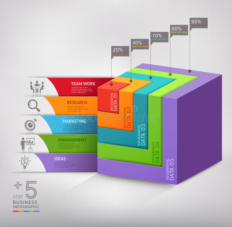 Современное дело диаграммы лестницы коробки 3d иллюстрация вектора