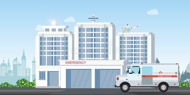 Современное здание больницы с экстерьером медицинской клиники вертолета автомобиля машины скорой помощи и тяпки скорой помощи иллюстрация штока