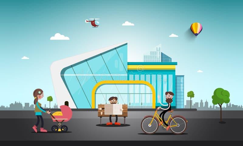 Современное здание в абстрактном городе Люди на улице бесплатная иллюстрация