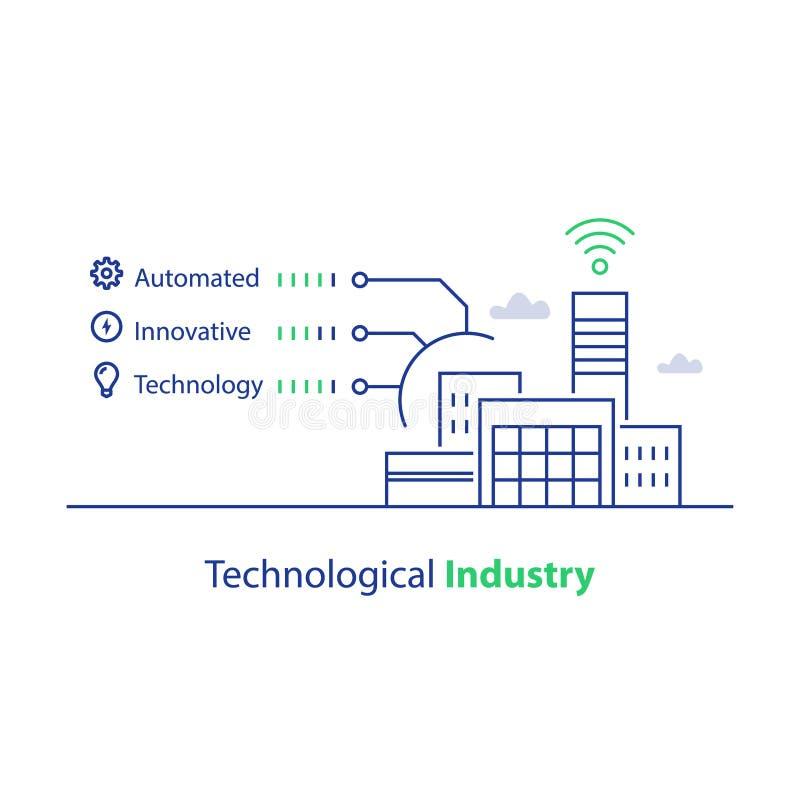 Современное здание фабрики, технологическая индустрия, автоматизированная продукция, умное решение, значок вектора линейный бесплатная иллюстрация