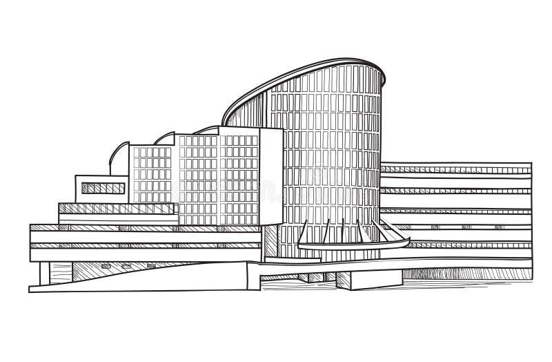 Современное здание. Архитектурноакустический эскиз. Собрание городского пейзажа. иллюстрация вектора