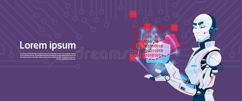 Современное кодирвоание робота, футуристическая технология механизма искусственного интеллекта иллюстрация вектора