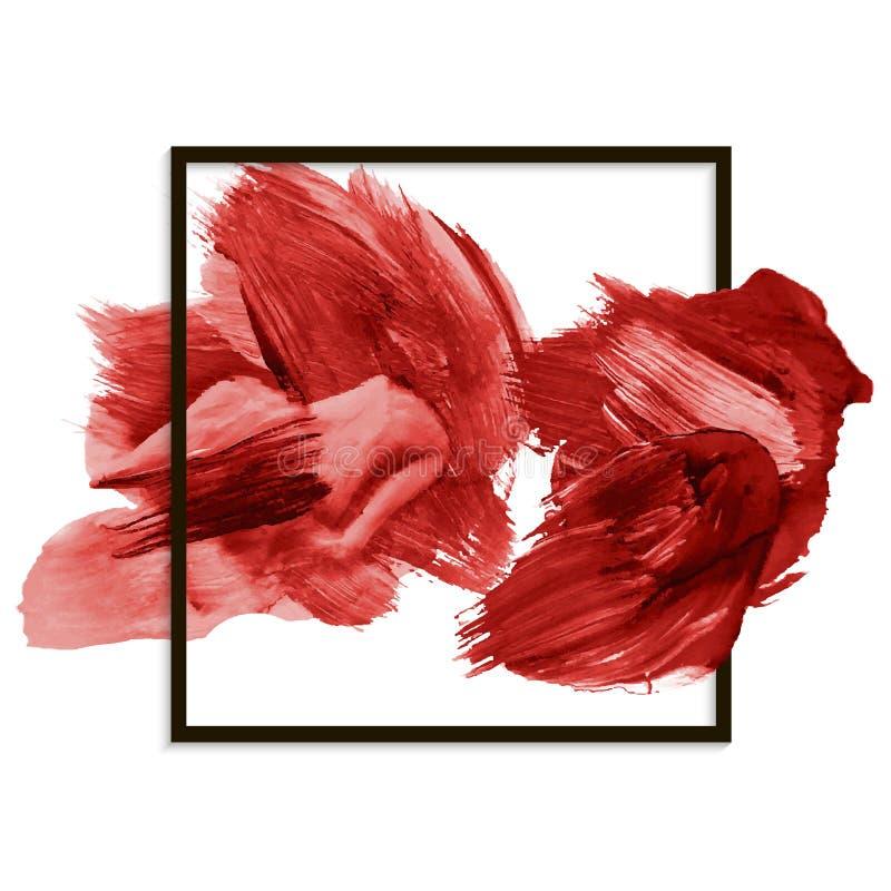 Современное Красное знамя, абстрактная помарка, brushstroke иллюстрация штока