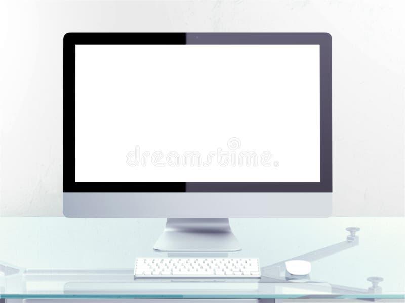 Современное место службы с компьютером бесплатная иллюстрация