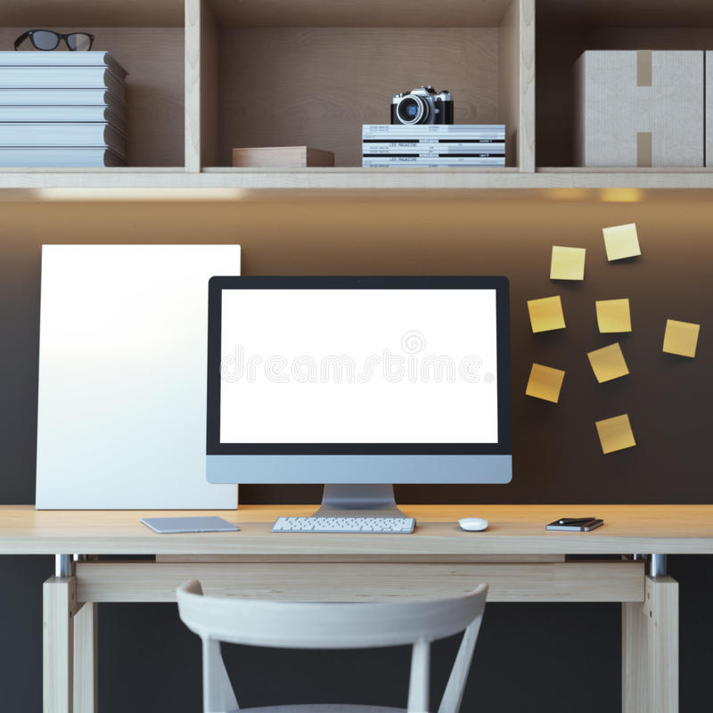 Современное место для работы с компьютером иллюстрация штока