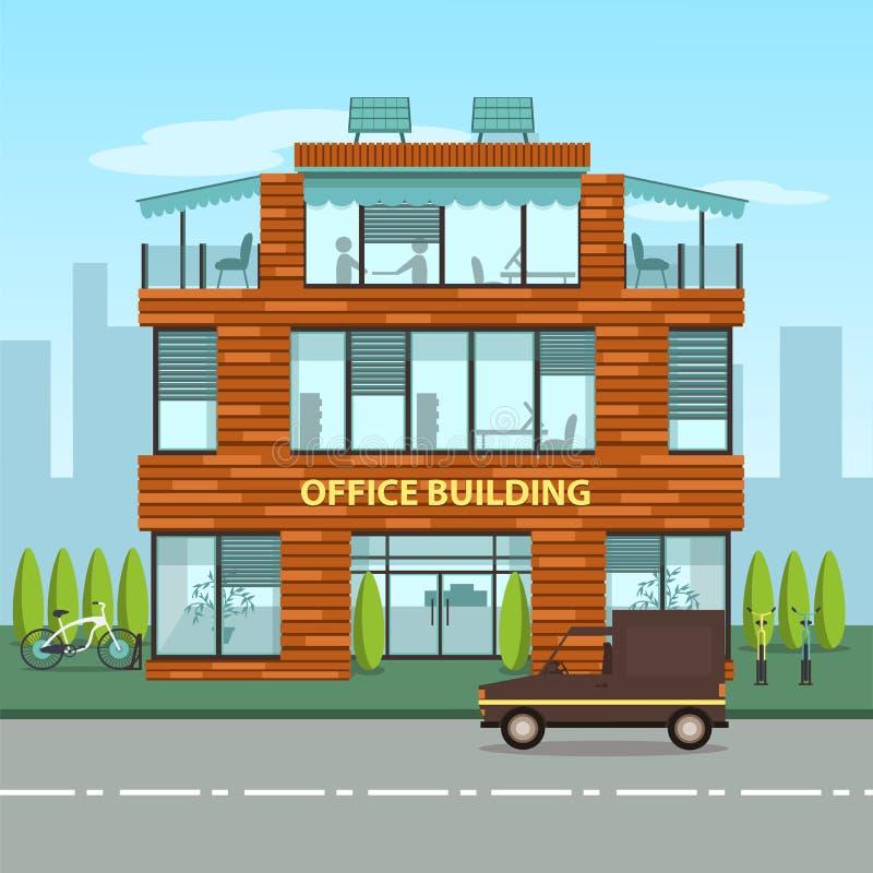 Современное офисное здание в стиле шаржа плоском иллюстрация штока