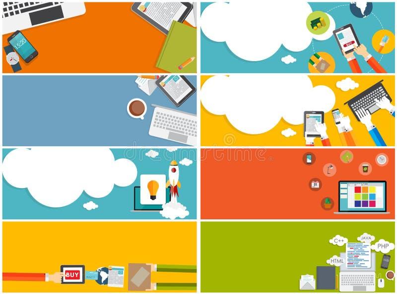 Современное плоское знамя дизайна установило для вашего дела бесплатная иллюстрация