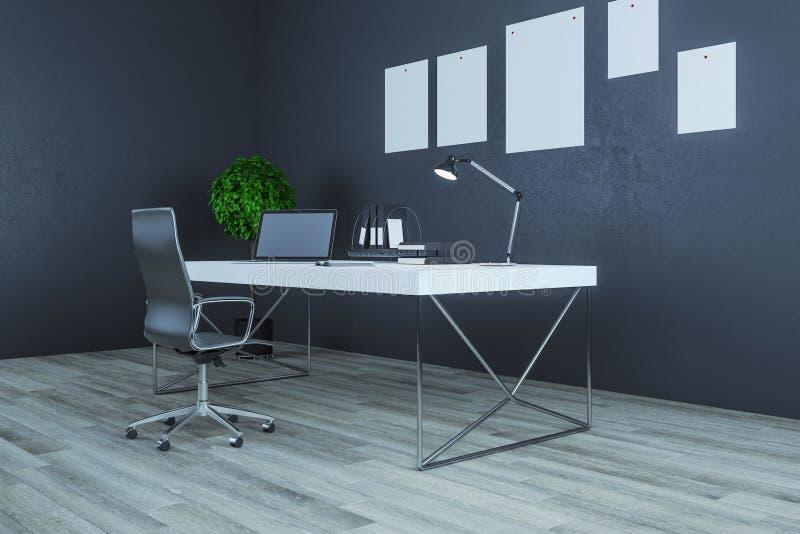 Современное рабочее место в интерьере бесплатная иллюстрация