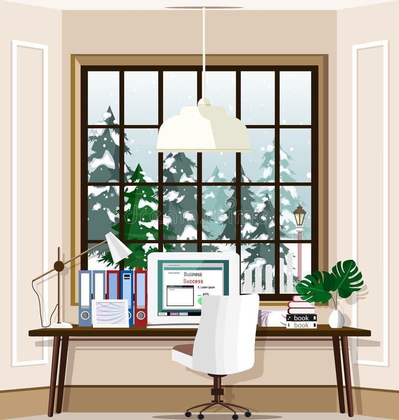 Современное рабочее место комнаты с большими окном и компьтер-книжкой на таблице дома Комплект интерьера комнаты офиса бесплатная иллюстрация