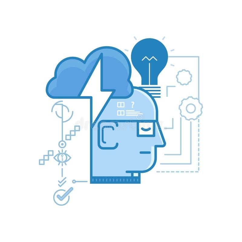 Современное ровное творческое, идеи, коллективно обсуждать значки дизайна для сети и графического дизайна, дизайн Ui, развитие, e иллюстрация штока