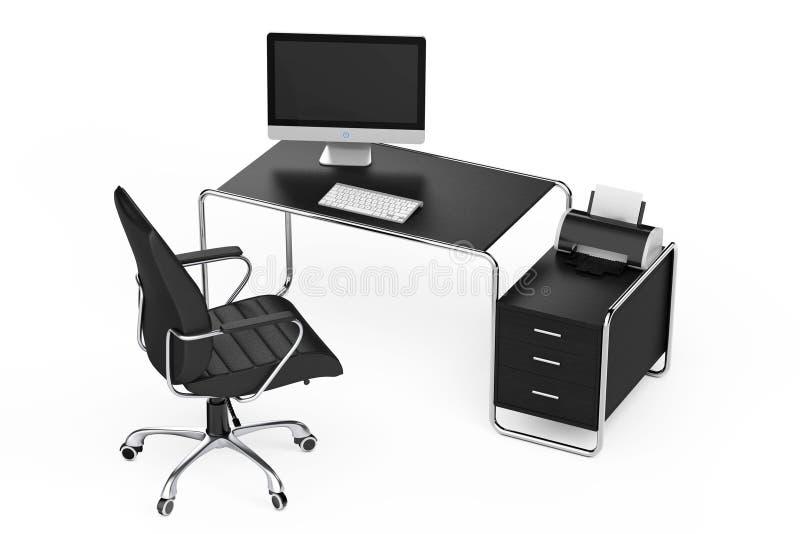 Современное творческое место для работы Компьютер на таблице офиса с Blac бесплатная иллюстрация