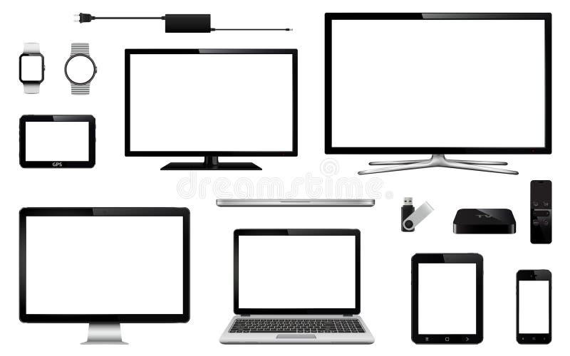 Современное умное ТВ, монитор компьютера, компьтер-книжка, таблетка, мобильный телефон, умный вахта, привод вспышки usb, прибор с бесплатная иллюстрация