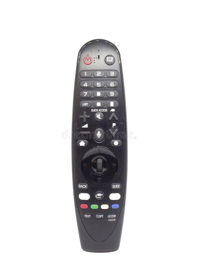 Современное черное удаленное ТВ регулятора на изолированной белой предпосылке стоковая фотография