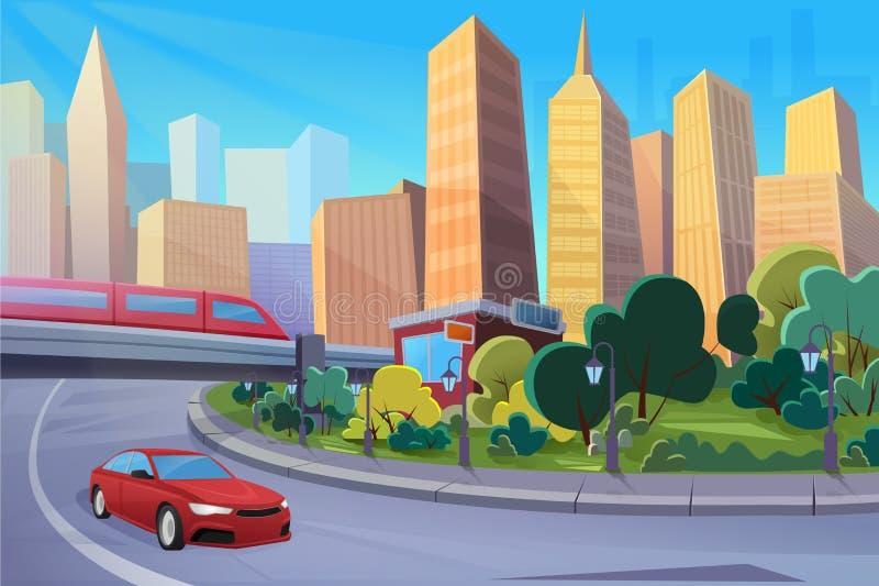 Современное шоссе, иллюстрация вектора городского пейзажа мультфильма плоская бесплатная иллюстрация