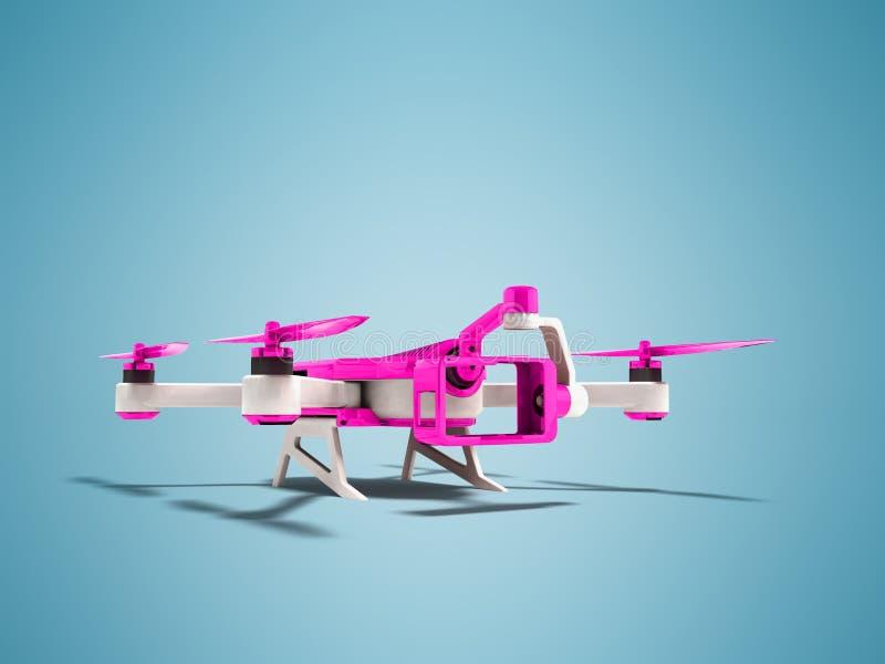 Современное quadrocopter трутня с inset раковины футуристической камеры фиолетовой с белыми insets 3D представляет на голубой пре иллюстрация штока
