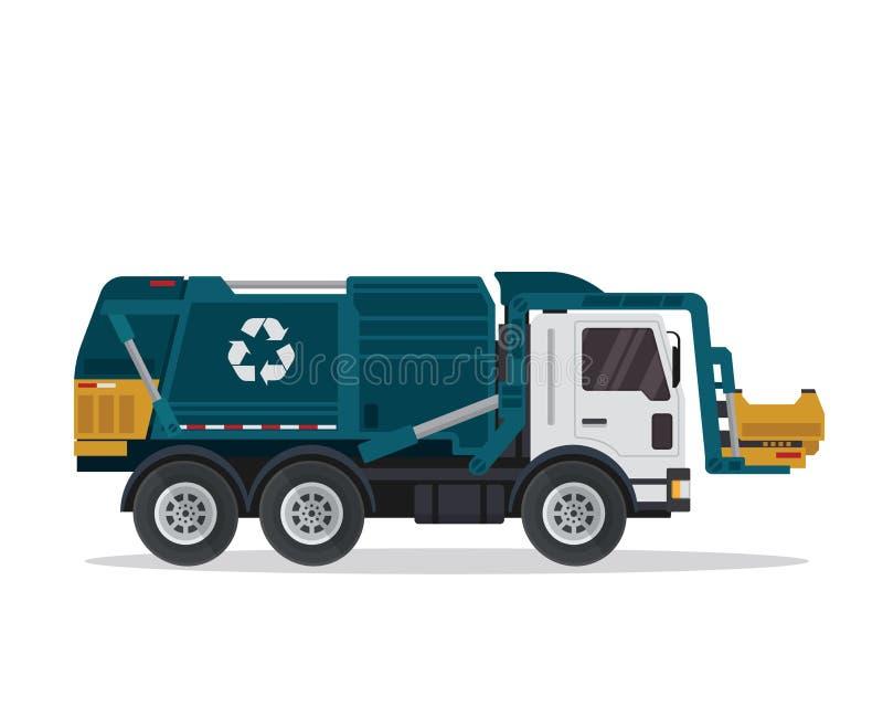 Современной изолированная квартирой промышленная иллюстрация мусоровоза бесплатная иллюстрация
