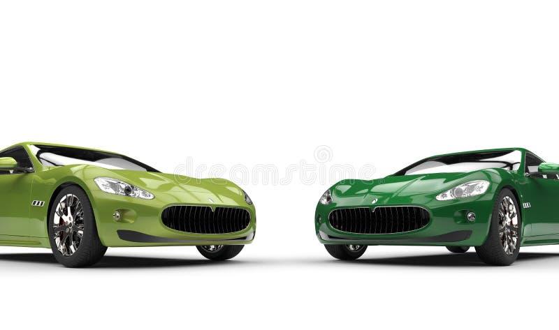 Современные быстрые зеленые автомобили бесплатная иллюстрация