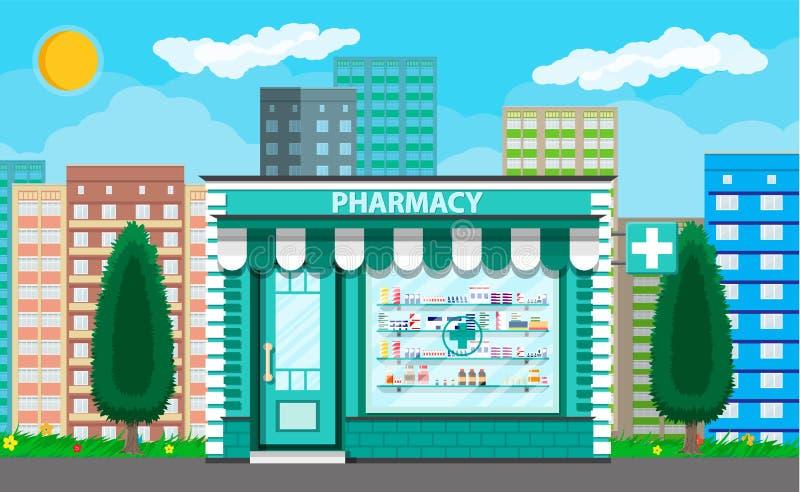 Современные внешние фармация или аптека бесплатная иллюстрация