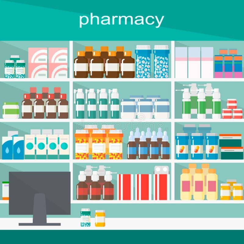 Современные внутренние фармация и аптека Иллюстрация вектора простая иллюстрация штока