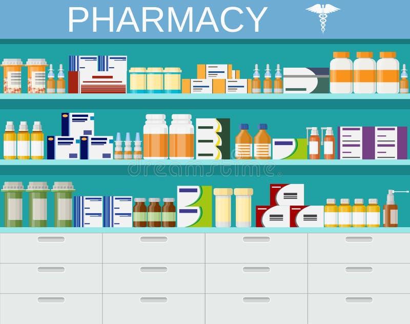 Современные внутренние фармация и аптека иллюстрация штока