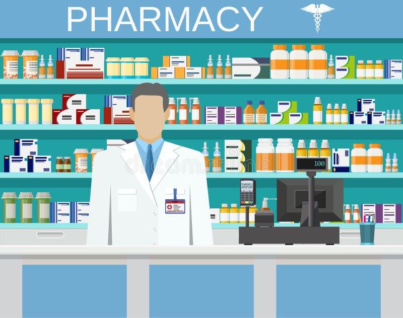 Современные внутренние фармация или аптека иллюстрация штока