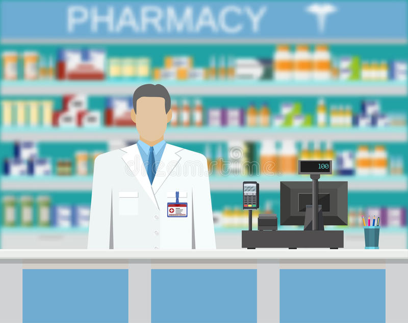 Современные внутренние фармация или аптека бесплатная иллюстрация