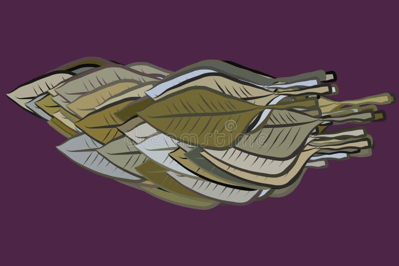 Современные геометрические листья рисуя конспект картины предпосылки График, грязный, детали & шаблон иллюстрация штока