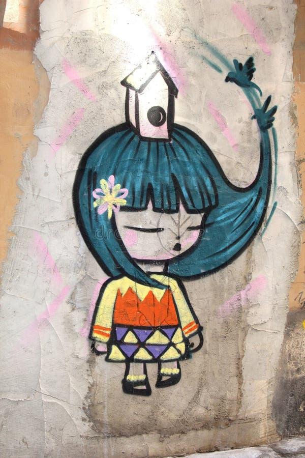 Современные женские городские граффити искусств улицы, Китай стоковые изображения rf