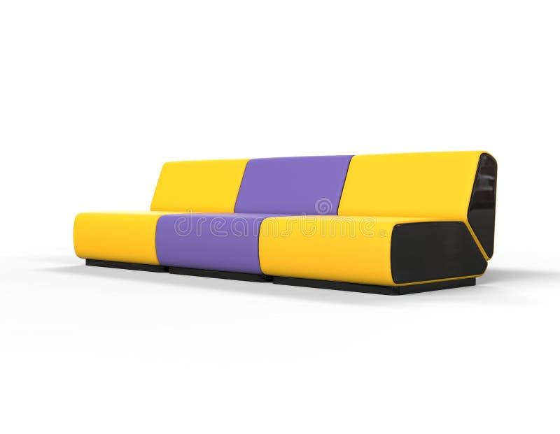 Современные желтые и фиолетовые кресла для отдыха иллюстрация вектора
