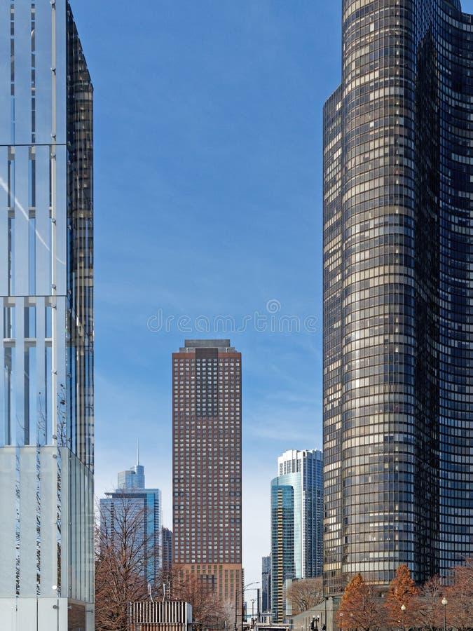 Современные жилые высокорослые башни, Чикаго Иллинойс стоковое фото rf