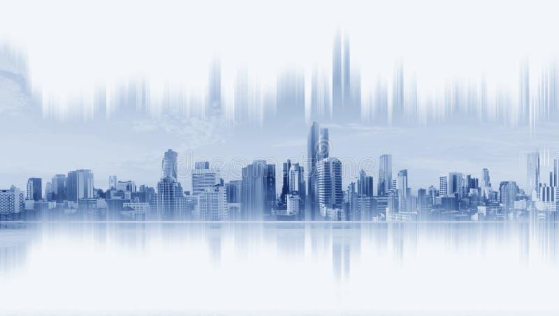 Современные здания, абстрактное сетевое подключение города, на белой предпосылке иллюстрация вектора