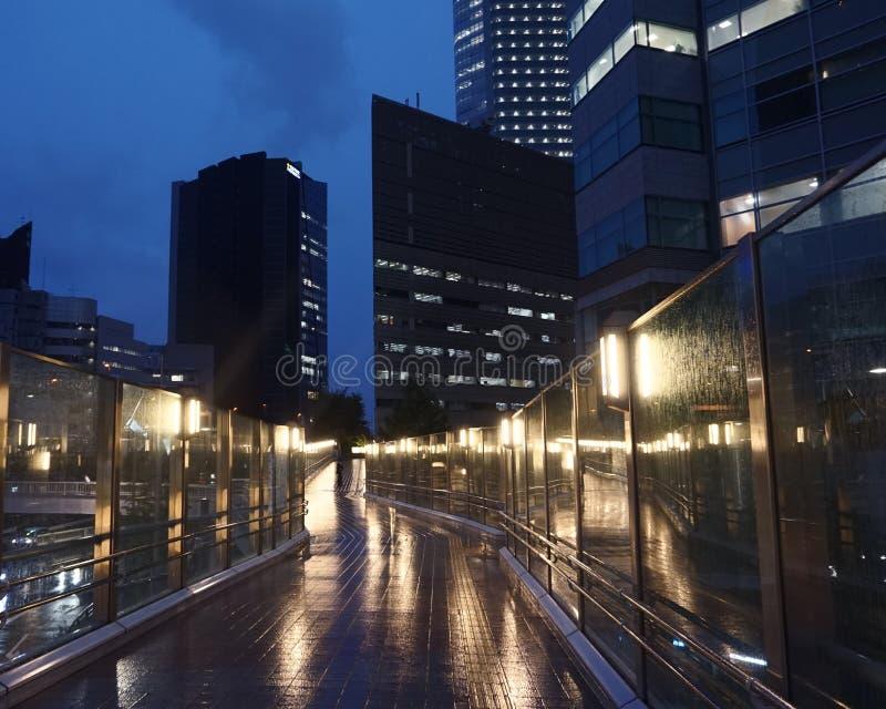 Современные здания в Токио Офисные здания в вечере Footbridge в дожде стоковая фотография
