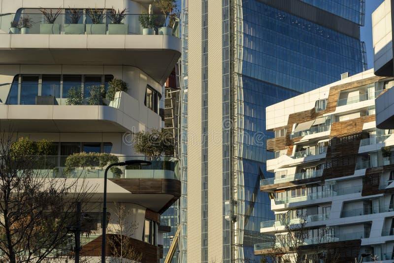 Современные здания на Citylife, Милане стоковая фотография rf