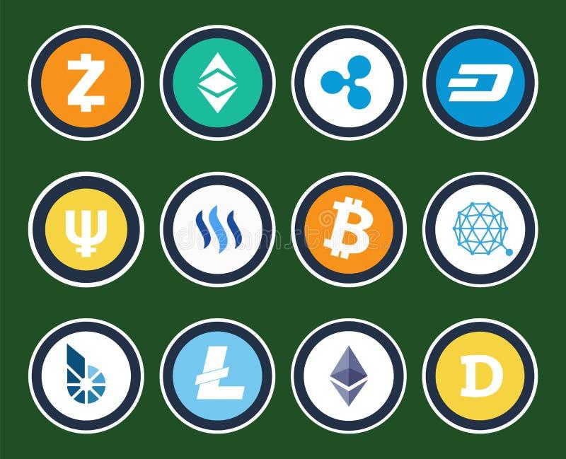 Современные знаки Cryptocurrency внутри установленных кругов иллюстрация вектора