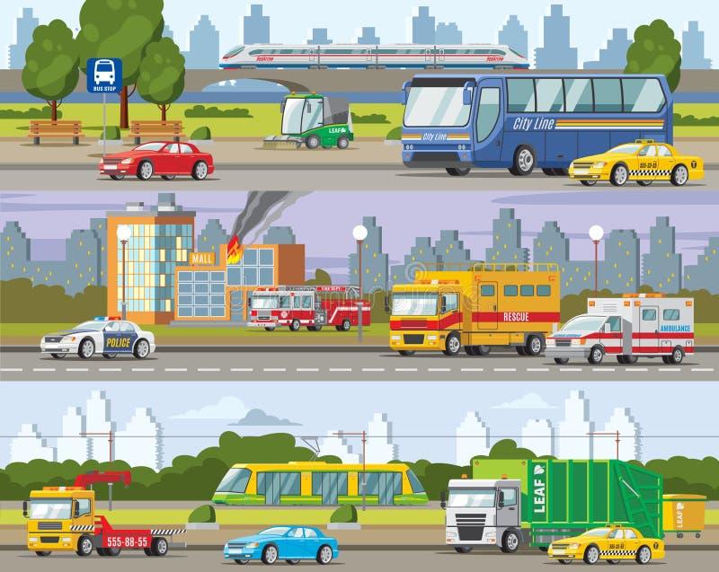 Современные знамена городского движения горизонтальные бесплатная иллюстрация