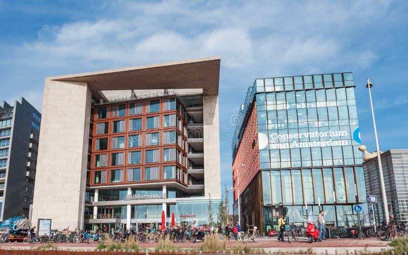 Современные здания консерватории и библиотеки в Амстердаме стоковые изображения rf