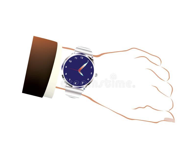 Современные изолированные наручные часы в серебряном цвете иллюстрация штока