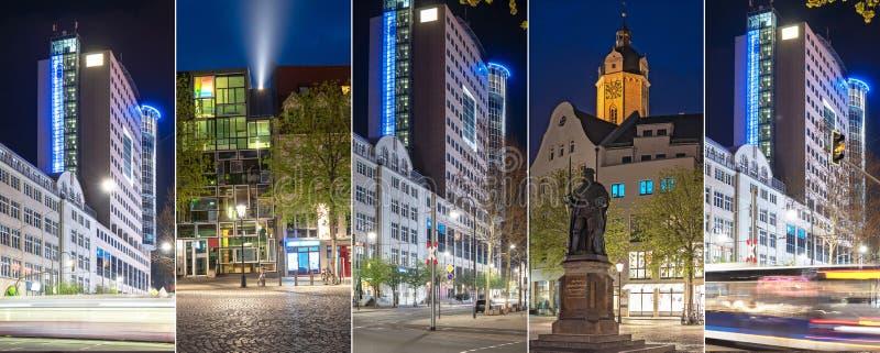 Современные и исторические здания вечером в Йене стоковая фотография