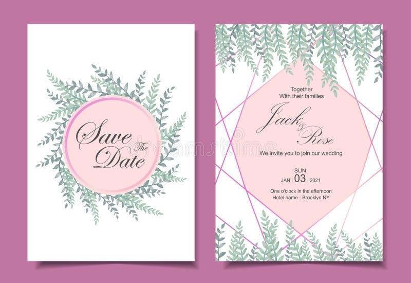 Современные карты шаблона 2 карты приглашения свадьбы различные Акварель выходит с золотой геометрической формой Сохраните дату и иллюстрация вектора