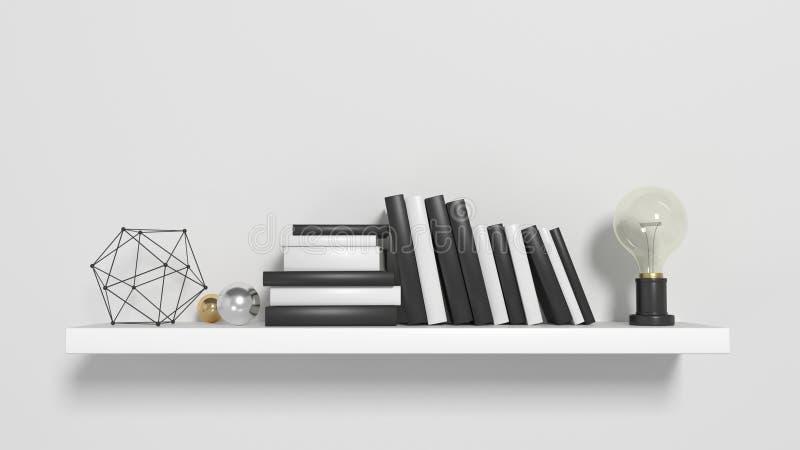 Современные книжные полки на белой мебели стены бесплатная иллюстрация