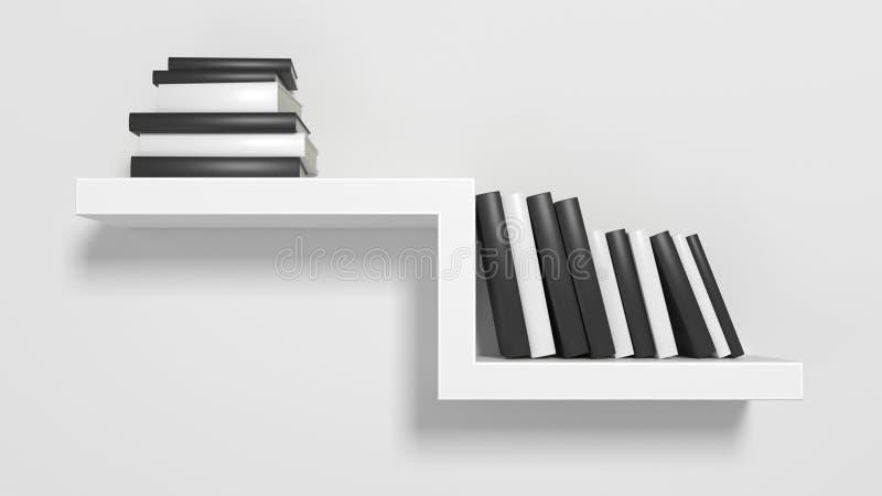 Современные книжные полки на белой мебели стены иллюстрация вектора