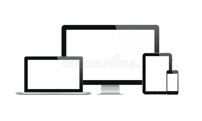 Современные компьютер и мобильные устройства иллюстрация вектора