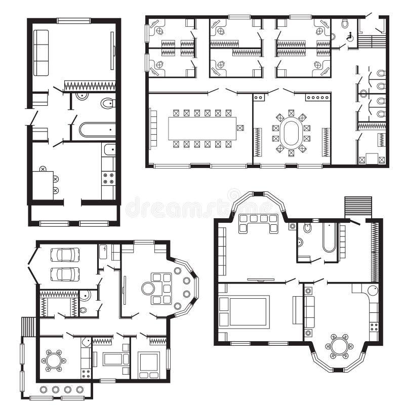 Современные мебель архитектурноакустического плана офиса внутренние и чертеж дизайна конструкции проектируют бесплатная иллюстрация