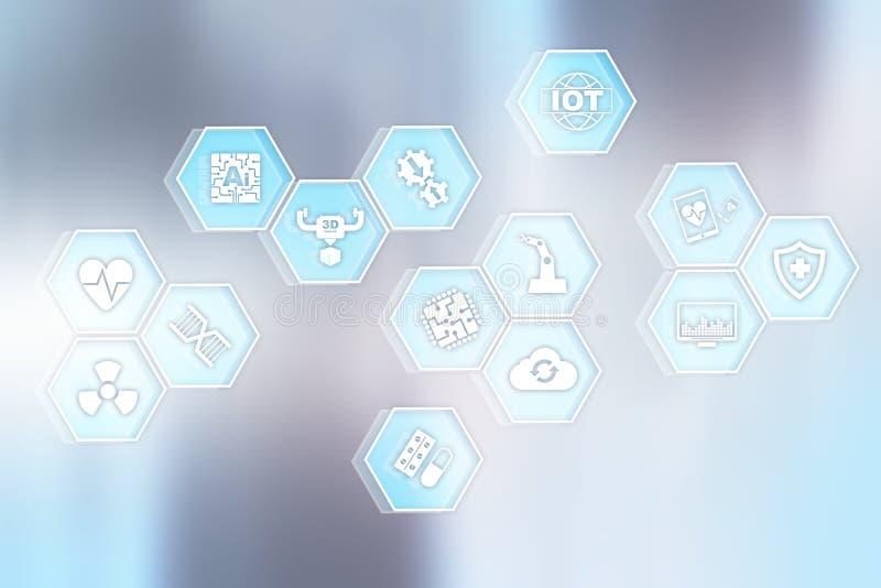 Современные медицинские значки технологии на виртуальном экране иллюстрация вектора