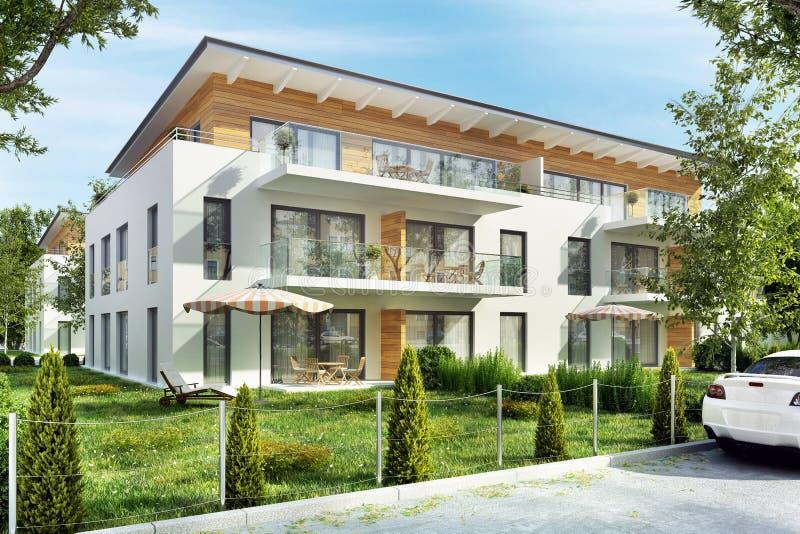 Современные многоквартирные дома с террасами в городе стоковая фотография rf