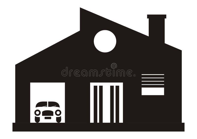 Современные дом и гараж иллюстрация вектора