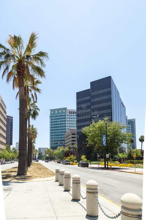Современные офисные здания в центре Сан-Хосе, Силиконовая долина стоковое фото