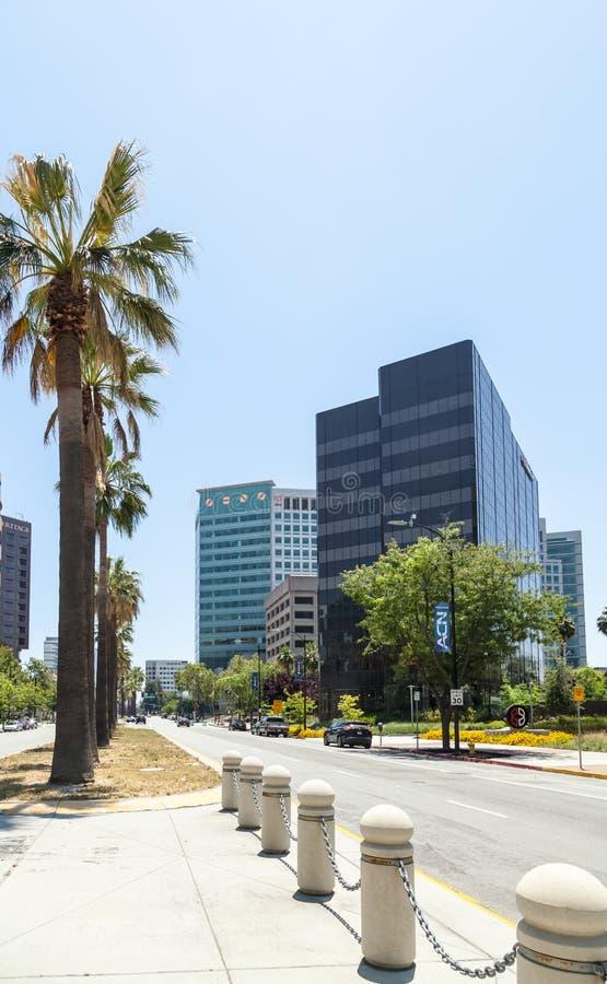 Современные офисные здания в центре Сан-Хосе, Силиконовая долина стоковые изображения
