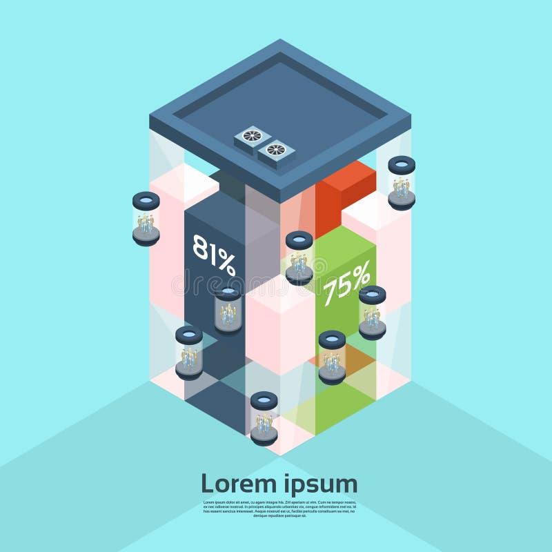 Современные предприниматели бара диаграммы финансов лифта офисного здания делового центра работая внутреннее 3d равновеликое иллюстрация вектора
