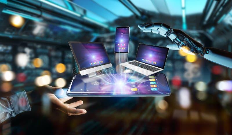 Современные приборы соединились в переводе руки 3D робота иллюстрация штока